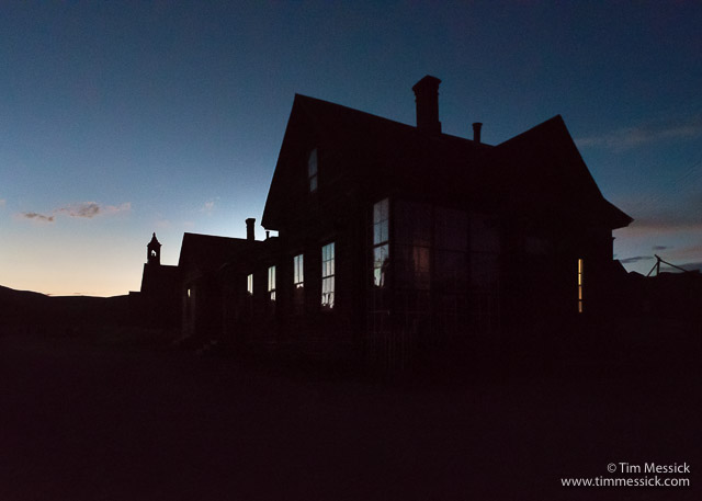 Cain House at night