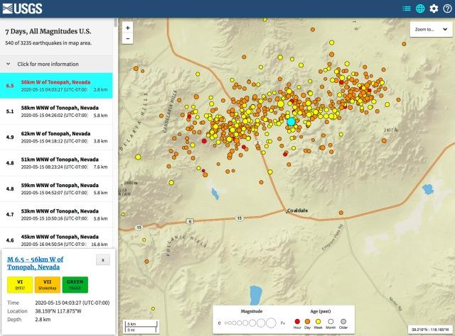 Map of aftershocks near Coaldale